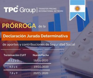 PRÓRROGA DEL VENCIMIENTO GENERAL DE PRESENTACIÓN Y PAGO DE LA DECLARACIÓN JURADA DETERMINATIVA EN ARGENTINA