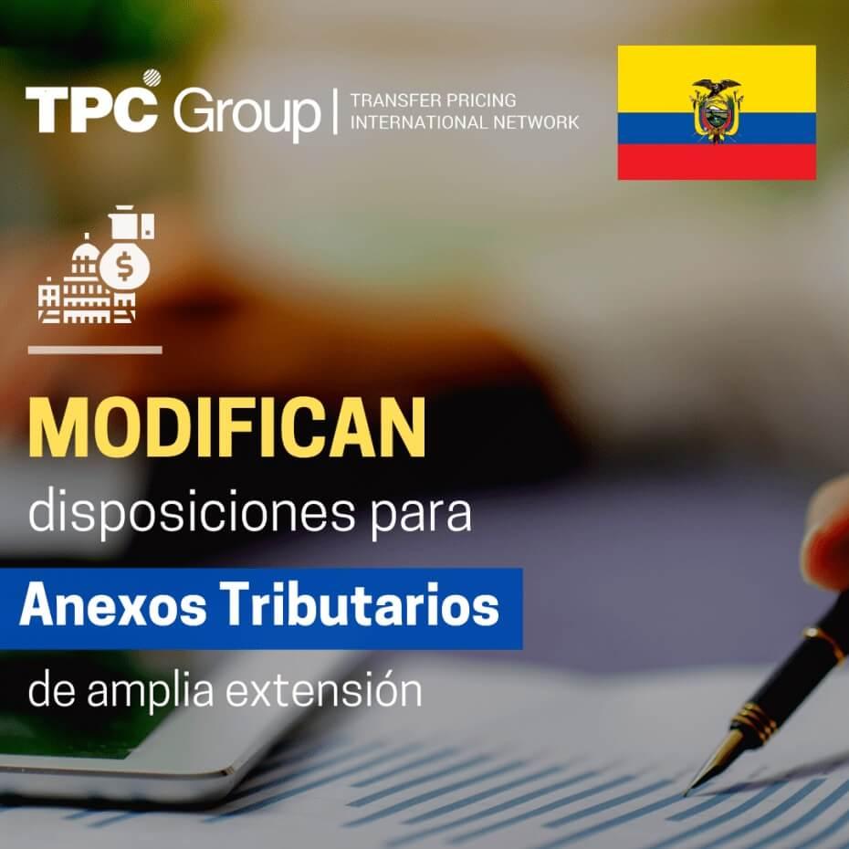 Modifican disposiciones para anexos tributarios en Ecuador