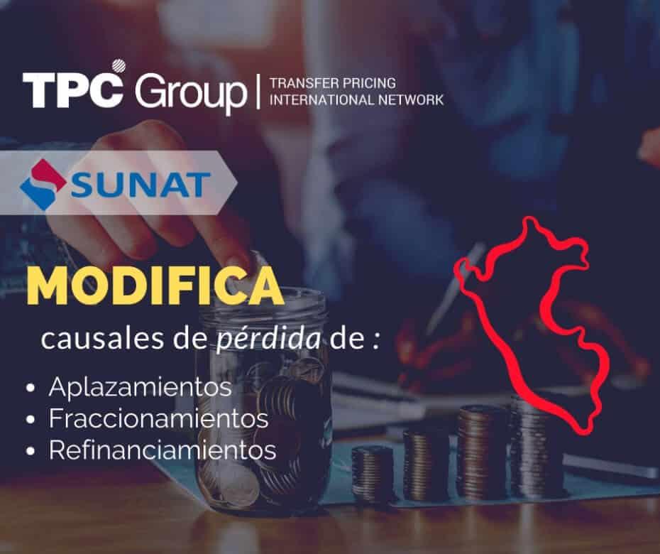 SUNAT mofican causales de perdida de aplazamiento fraccionamiento y refinanciamientos en Perú