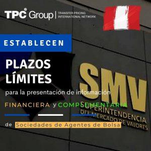 Se establece plazos límites de presentación de info financiera y complementaria de sociedades de agentes de bolsa en Perú