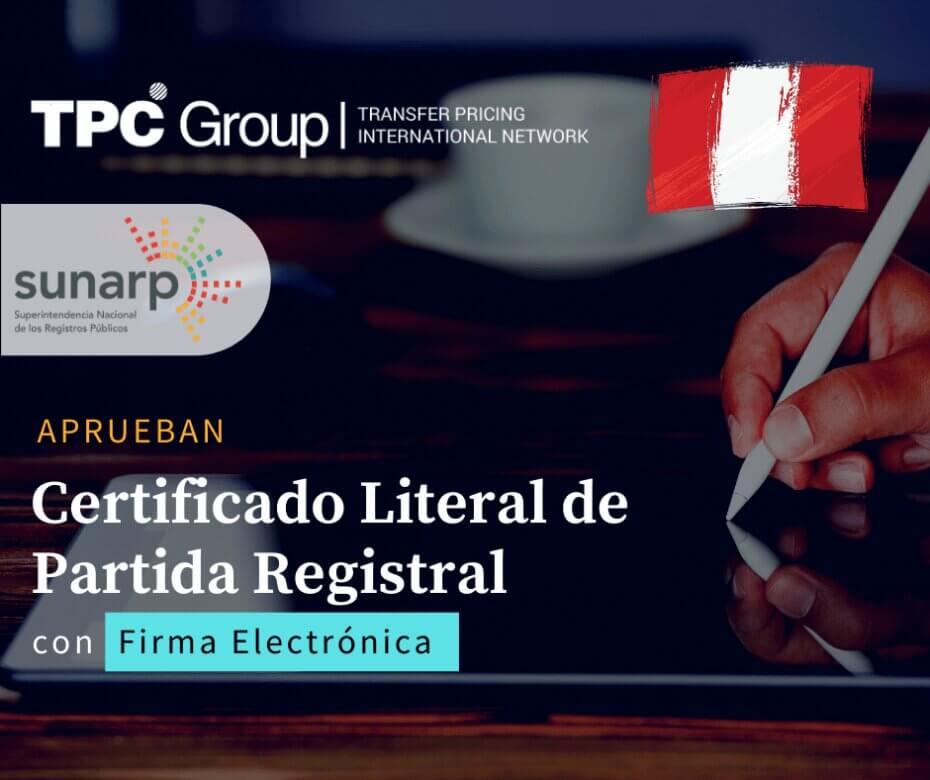 Aprueban Certificado Literal en Partida