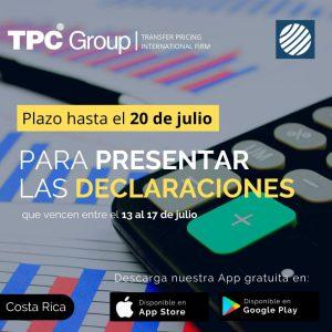 Plazo hasta el 20_07 para presentar las declaraciones que vencen entre el 13 al 17 de julio en Costa Rica