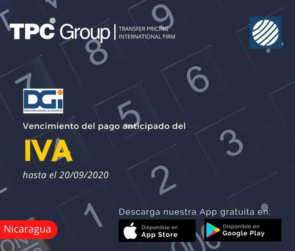 Vencimiento del pago anticipado del IVA hasta el 20-09-2020 en Nicaragua