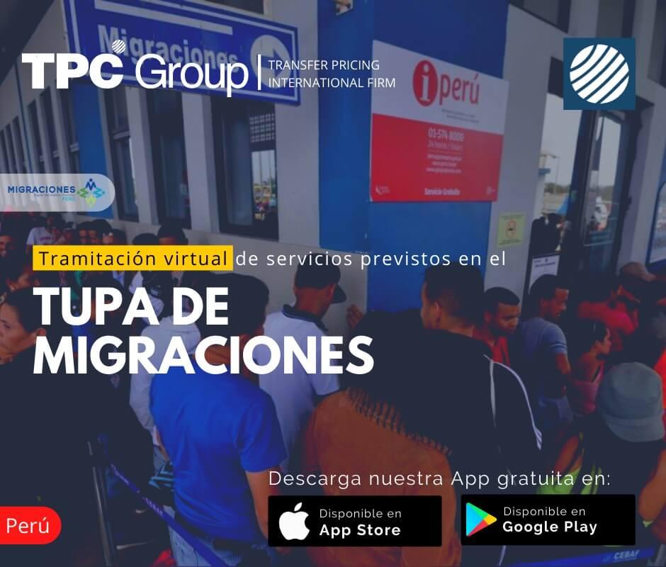 Tramitación virtual de servicios previstos en el tupa de migraciones en Perú