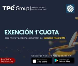 Exención 1°cuota para micro y pequeñas empresas del ejercicio fiscal 2020 en República Dominicana