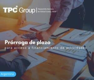 Prórroga de Plazo para Acceso a Financiamiento de Actividades