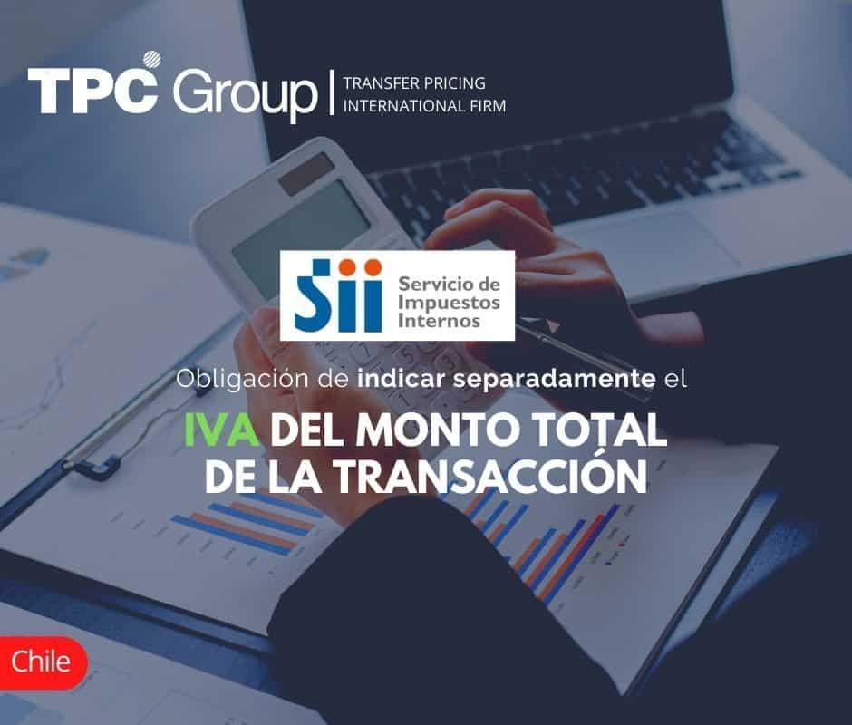 Obligación de indicar separadamente el IVA del monto total de la transacción