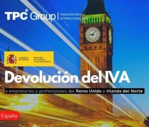 Devolución del IVA a empresarios o profesionales del Reino Unido e Irlanda del Norte