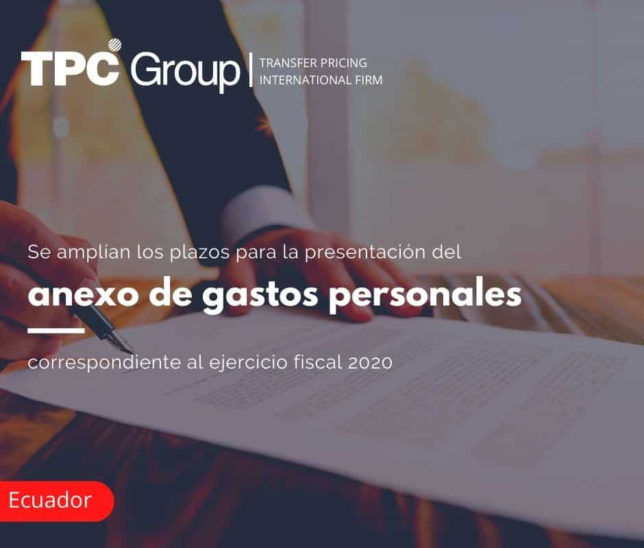 Se amplían los plazos para la presentación del anexo de gastos personales, correspondiente al ejercicio fiscal 2020