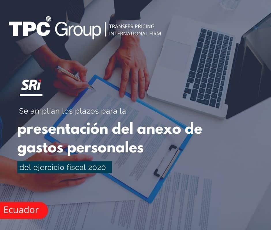 Se amplían los plazos para la presentación del anexo de gastos personales del ejercicio fiscal 2020