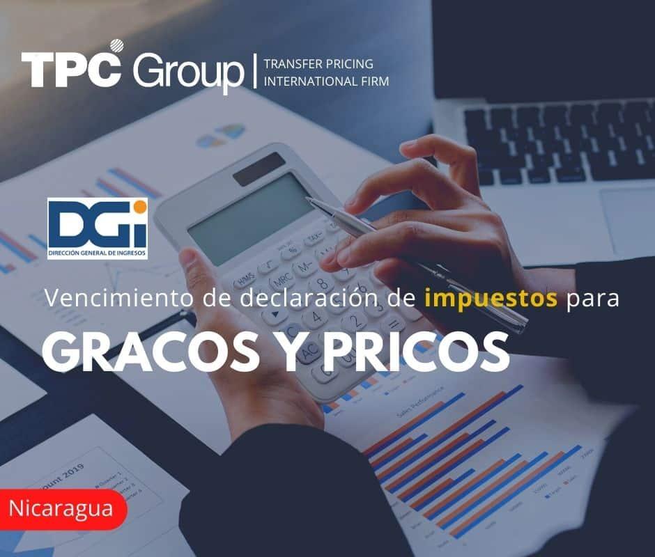 Vencimiento de declaración de impuestos para GRACOS y PRICOS