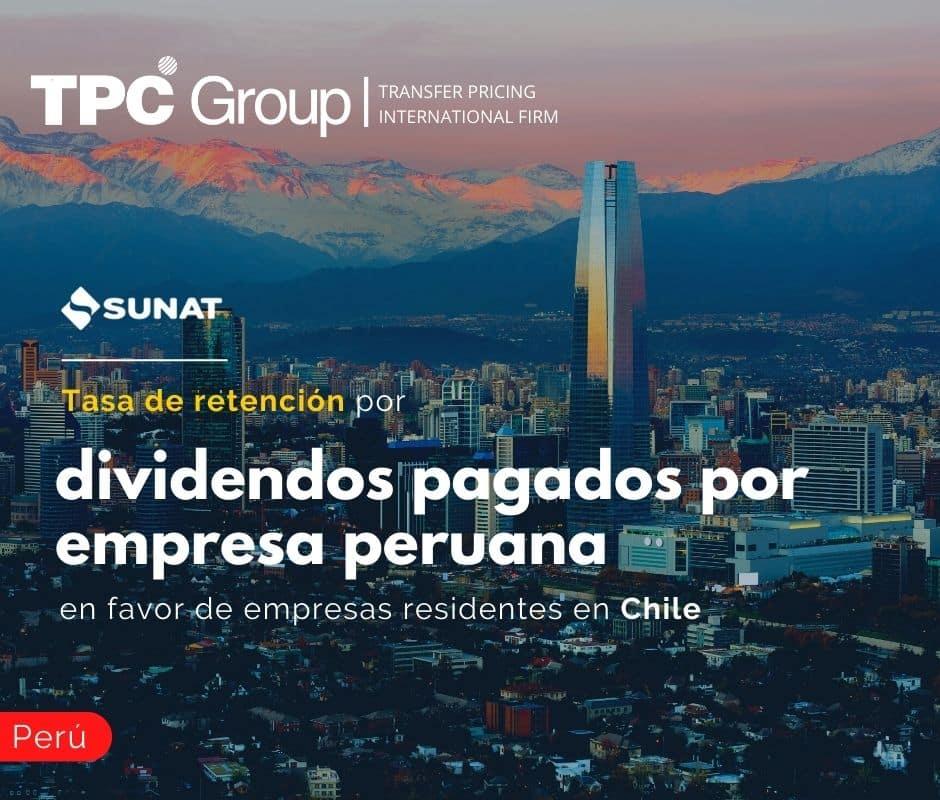 Tasa de retención por dividendos pagados por empresa peruana en favor de empresas residentes en Chile