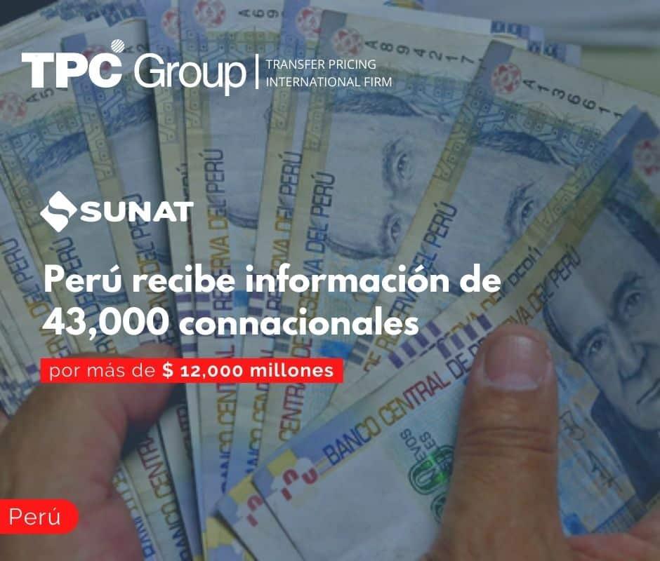 Perú recibe información de 43,000 connacionales por más de $ 12,000 millones