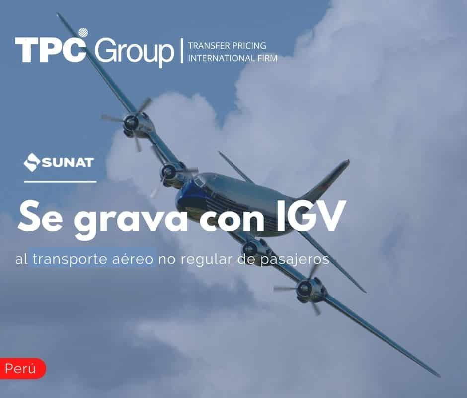 Se grava con IGV al transporte aéreo no regular de pasajeros
