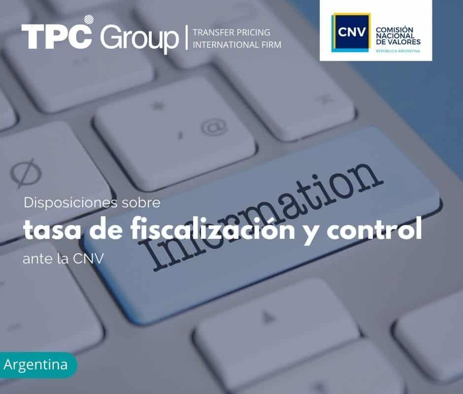 Disposiciones sobre tasa de fiscalización y control ante la CNV