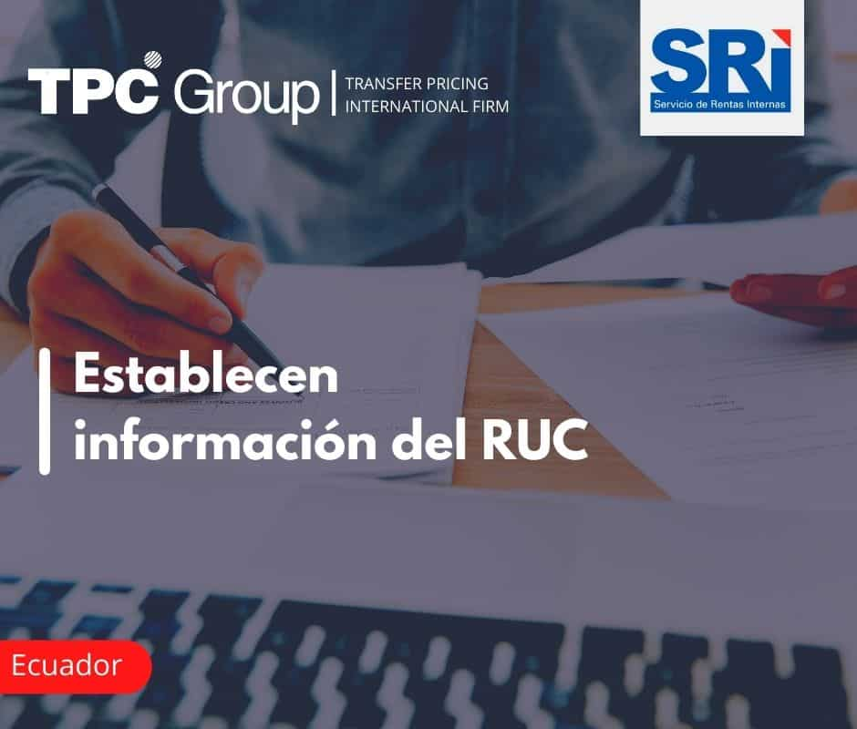Establecen información del RUC