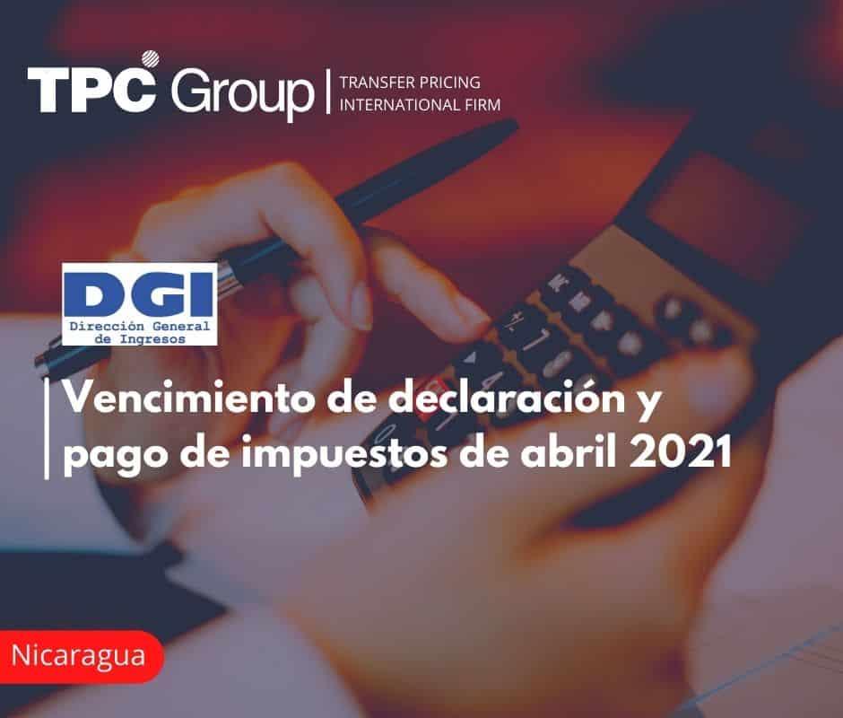Vencimiento de declaración y pago de impuestos de abril 2021