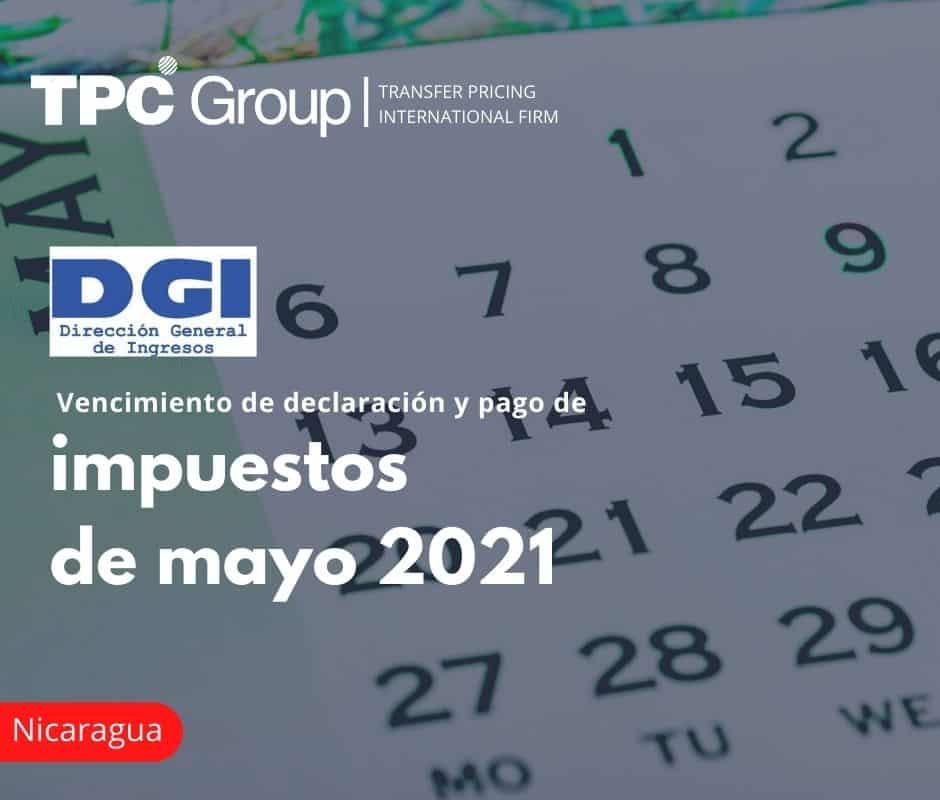 Vencimiento de declaración y pago de impuestos de mayo 2021