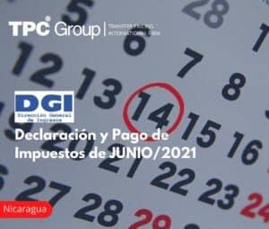 Declaración y Pago de Impuestos de JUNIO/2021