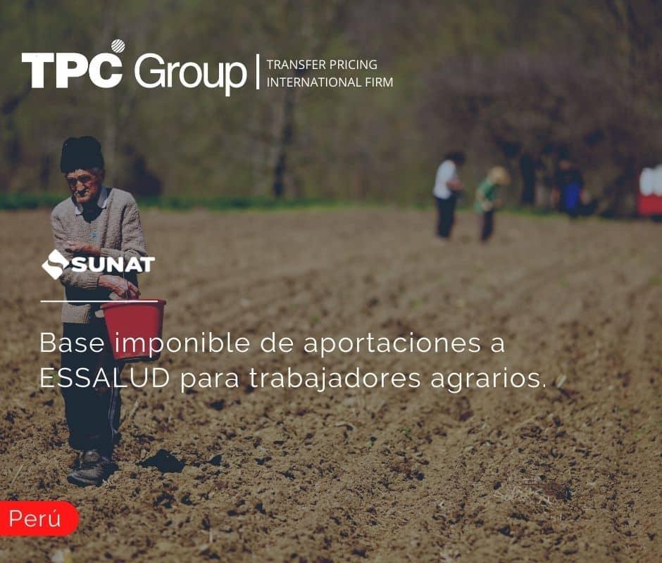 Base imponible de aportaciones a ESSALUD para trabajadores agrarios