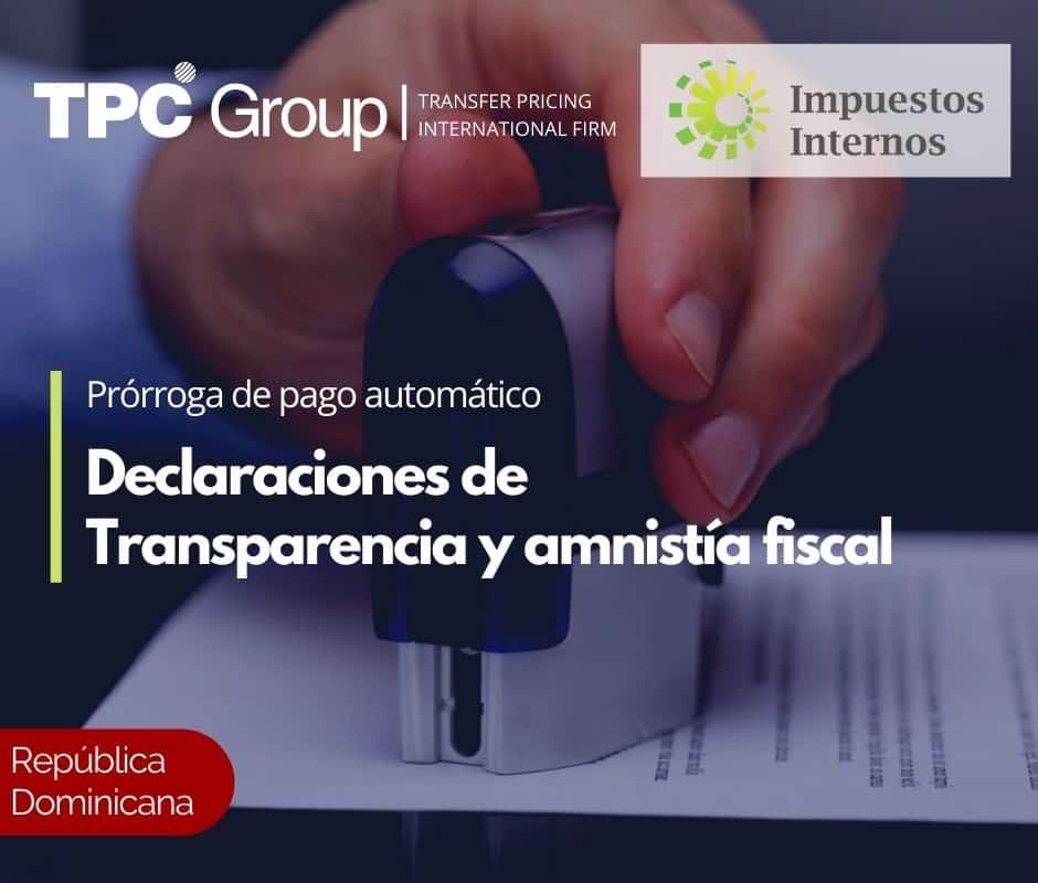 Prórroga de pago automático Declaraciones de Transparencia y amnistía fiscal