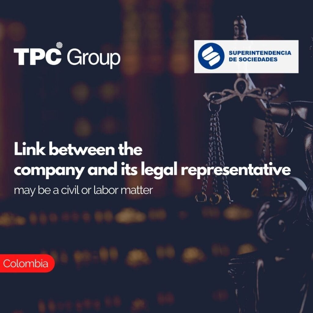 Link between the company and its legal representative may be a civil or labor matter