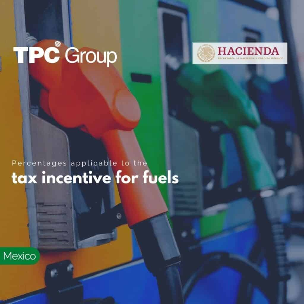 Percentages applicable to the tax incentive for fuels