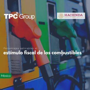 Porcentajes aplicables al estímulo fiscal de los combustibles
