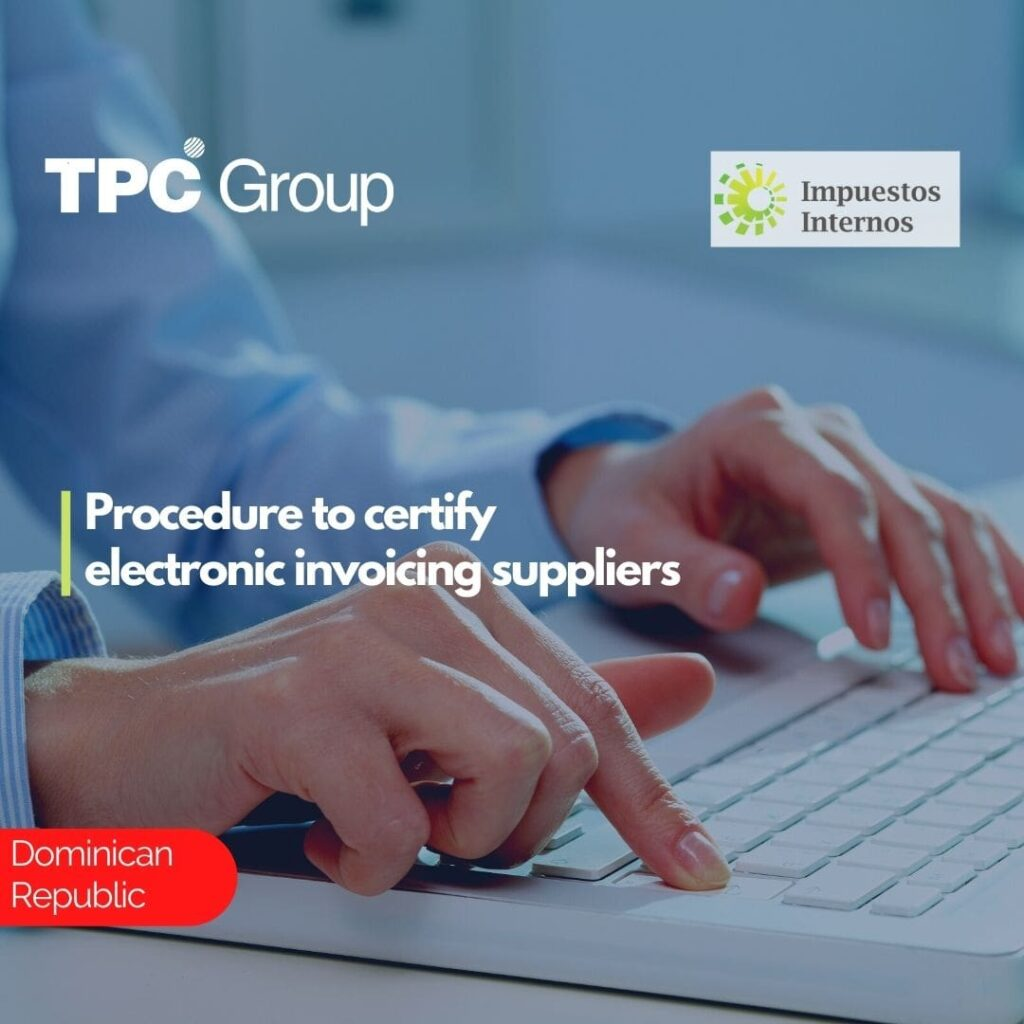 Procedure to certify electronic invoicing suppliers
