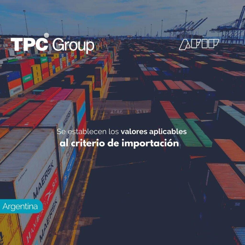 Se establecen los valores aplicables al criterio de importación