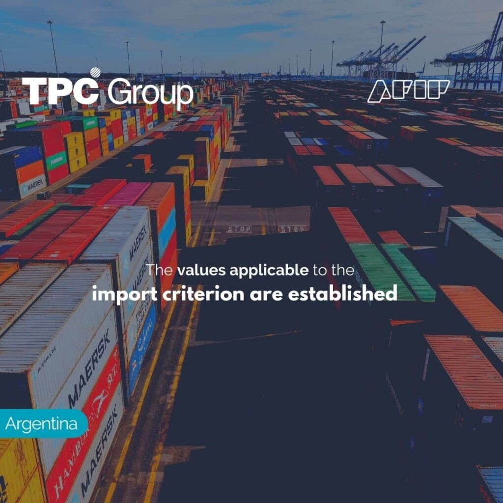 The values applicable to the import criterion are established