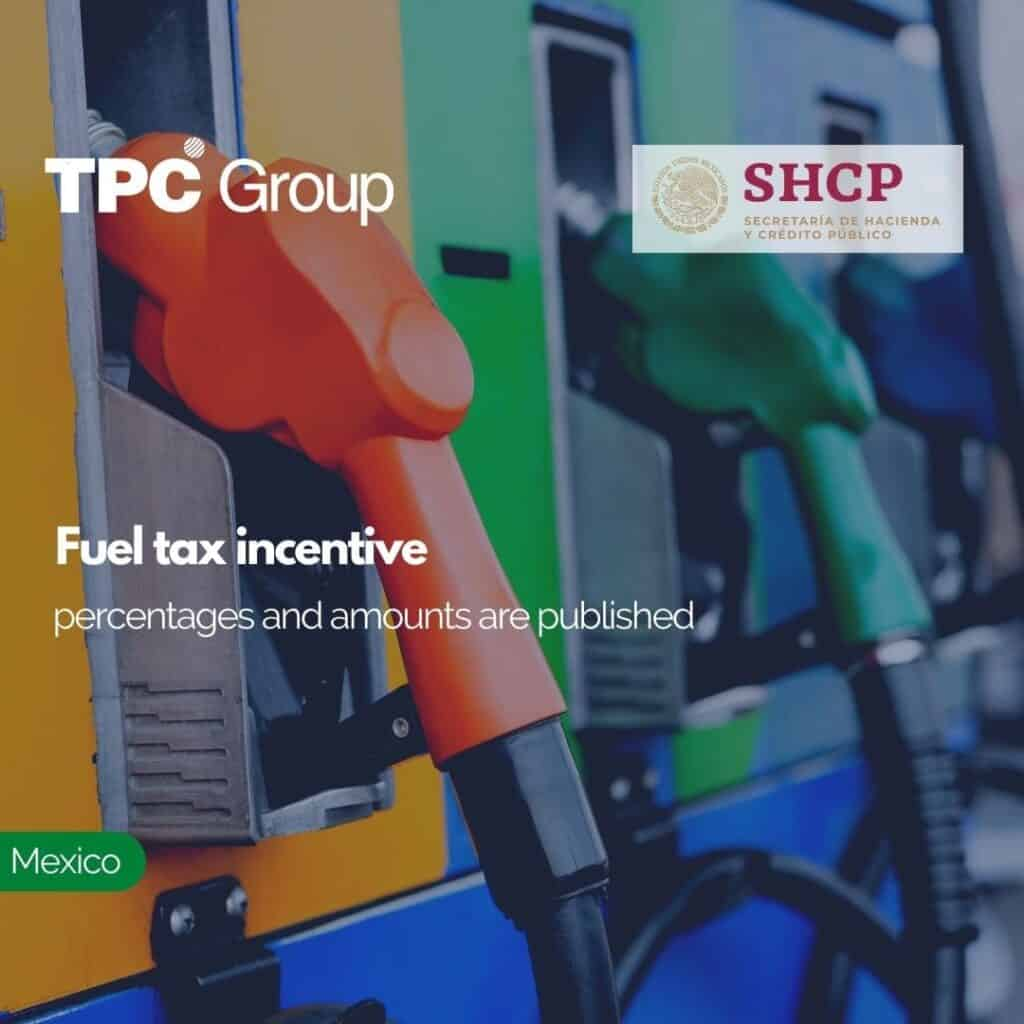 Fuel tax incentive percentages and amounts are published