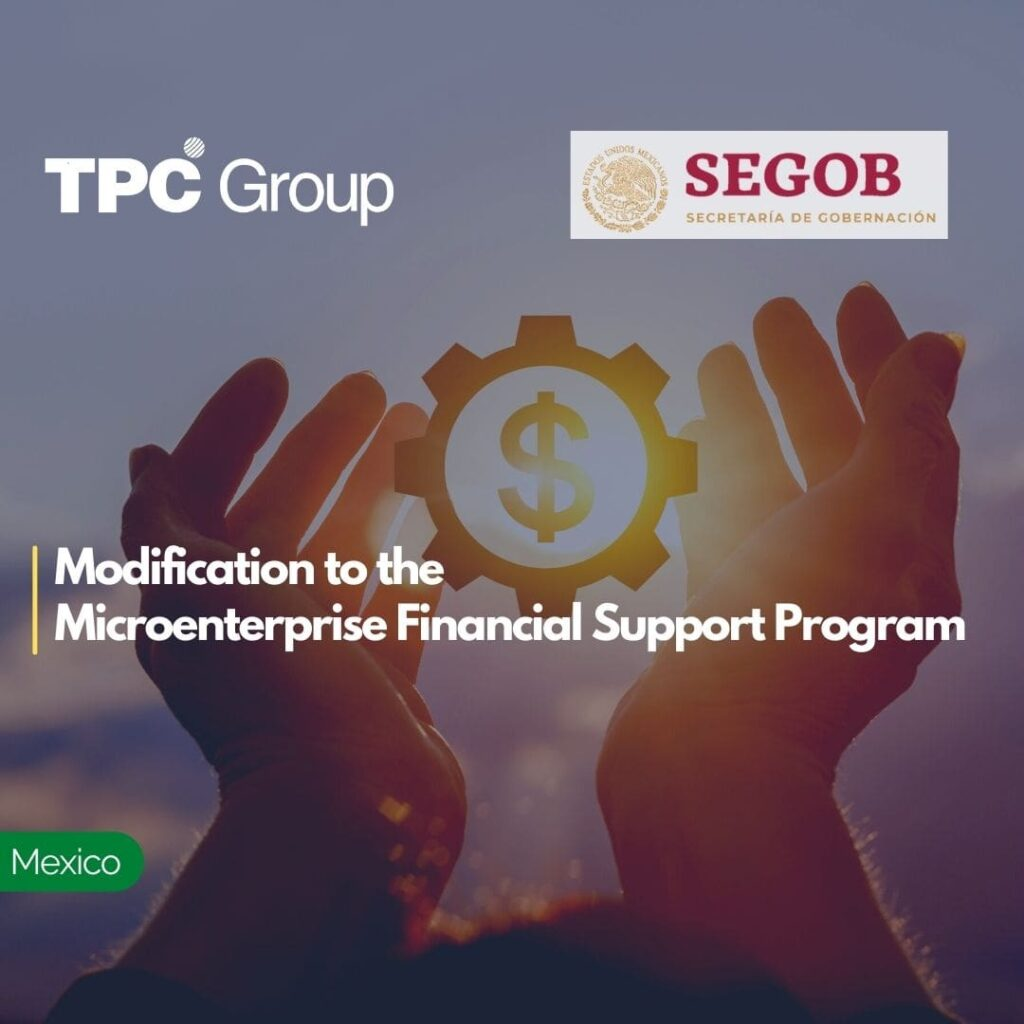 Modification to the Microenterprise Financial Support Program